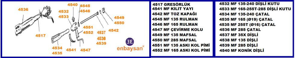 MF 35X-135-240-240S-255T-165-285 TRAKTÖR  AYARLI KOL MONTAJI